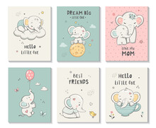 Cute Cards With Little Elephant, Vector Characters Set, Posters For Kids Room, Baby Shower, Greeting Card, T-shirt Prints. Hand Drawn Nursery Illustration.