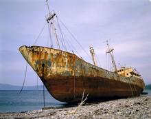 Freighter, Stranded, Ship, Cargo Ship, Beach, Shore, Wreck, Shipwreck, Rusty, Ephemeral, Perishable, Corossion, Weathered, Discarded, Scrap, Disposal, Environment, Environmental Pollution