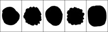 Set Of Black Brush Round Strokes Isolated On White. Ink Splatter. Paint Droplets. Digitally Generated Image. Vector Design Elements, Illustration, EPS 10.