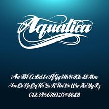 Aquatica Calligraphic Handwritten Alphabetical Font.