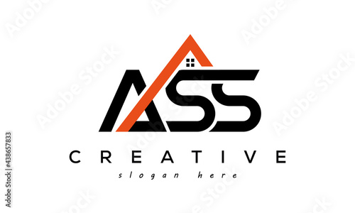 Canvas ASS letters real estate construction logo vector