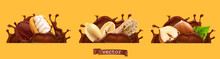 Chocolate Splashes With Peanuts, Cocoa And Hazelnuts. 3d Realistic Vector Icon Set