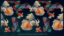 Seamless Patterns Art Of Betta Fish.