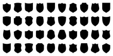 Set Of Various Vintage Shield Icons. Black Heraldic Shields. Protection And Security Symbol, Label. Vector Illustration.