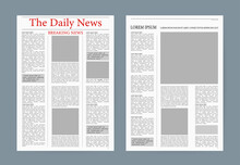 Newspaper. Vector Editorial Print Layout. Newspaper Template.