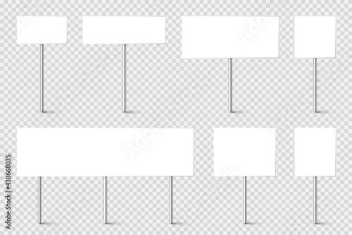 Blank board with place for text, protest signs set isolated on transparent background Fototapet