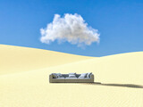 Fototapeta Przestrzenne - Surreal desert landscape with sofa and cloud