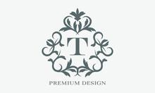 Premium Linear Logo. Exquisite Monogram With Letter T. Elegant Icon. Luxury Alphabet Frame Symbol.
