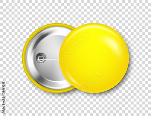 Realistic yellow blank badge isolated on transparent background Fotobehang
