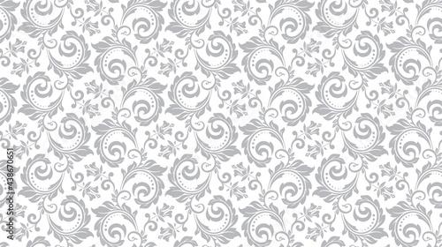 Tapety Barokowe  tapeta-w-stylu-barokowym-bezszwowe-tlo-bialy-i-szary-kwiatowy-ornament-wzor-graficzny-na-tkanine-tapete-opakowanie-kwiecisty-ornament-kwiat-adamaszku