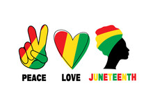 Peace, Love, Juneteenth. Silhouette Of Black Afro-American Woman. Heart And Fingers With Colour Of Flag. Freedom And Emancipation Day.