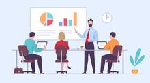 Business Training Flat Concept. Vector Illustration