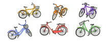 Watercolour Drawing Of Bicycles In Different Colors. Clipart Transport. Illustration For The Design. Bicycle Summer Transport,sport.