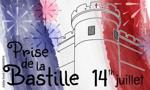 Fotografia, Obraz Bastille on watercolor tricolor background