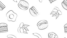 Black And White Endless Seamless Pattern Of A Set Of Food Items And Snacks Icons For A Restaurant Bar Cafe: Burger, Pistachios, Egg, Cheese, Cucumber. The Background