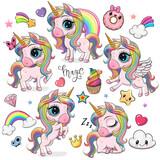 Cute Cartoon Unicorns isolated on a white background