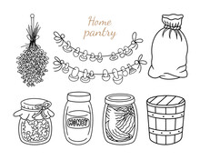 Home Pantry Doodle Set. Preserved Food, Glass Jar Of Jam, Canned Honey And Pickles, Wooden Bucket, Burlap Canvas Sack, Dried Lavender And Mushrooms On The Rope. Vector Elements Isolated, Coloring Page