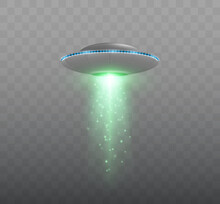 UFO Spaceship With Light Beam Isolated On Transparent Background. Vector Illustration