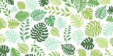 Background with exotic jungle plants. Tropical palm leaves. Rainforest illustration in green colors.