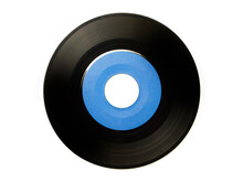 Early 1970s  45 Rpm Single Record With Large Central Hole, With Blue Label .  EP Record Or Analog Disc ( 7 Inch), Isolated On White.