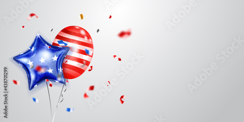 Background with several colored balloons in the colors of the USA flag and pieces of shiny serpentine Fototapet