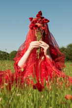 Girl In A Red Poppy Field Covered By Thin Fabric With Bouquet Of Wild Flowers