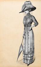 Woman Vintage Elegant Dress Hat. Antique Fashion Engraving