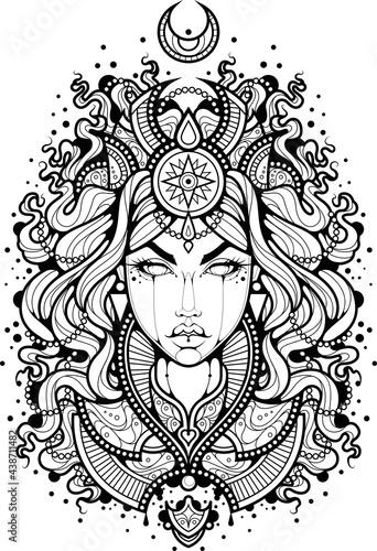 Ilustracja do kolorowania kobieta z gwiazdami na ubraniach. Kontur tatuażu czarodziejki z księżycem nad głową.  Czarno-biały wzór tatuażu.
