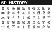 50 Icon Pack Of History Web Icons. Filled Glyph Icons Such As Torah,shell,prehistory,ceramics,headband,documentary,meteorite,wheat. Vector Illustration