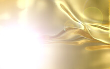 Liquid Gold Background. Beautiful Yellow Gold Glitters In The Light. A Bright Flash On A Yellow Background.