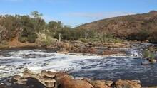 Bells Rapids, Pan Right Shot Of Swan River Flowing Through Perth Hills