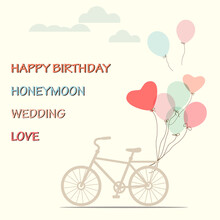 Postcard Of Bicycle Vintage With Heart Balloon - Vector Design