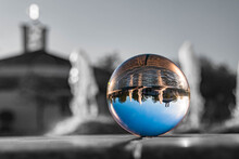 Crystal Ball Landscape Shot With Black And White Background Outside The Sphere And Details Of A Water Fountain At Therme Bad Griesbach, Bavaria, Germany