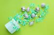 Leinwandbild Motiv Box with Christmas decor and confetti on color background