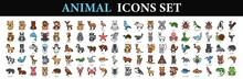 Animal Icons Set. Flat Set Of Animals Vector Icons For Web Design. Cartoon Animal Icon