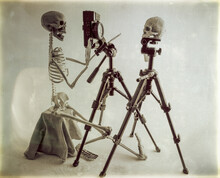 Plaque Photographique Vintage-shooting Portrait Crâne Humain-squelette Photographe