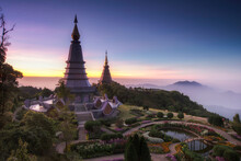 Landmark Landscape Pagoda In Doi Inthanon National Park At Chiang Mai Thailand, They Are Public Domain Or Treasure Of Buddhism