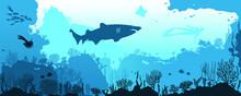 Ocean Underwater World With Different Animals. Vector Illustration
