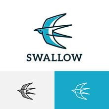 Swallow Bird Wings Flying To Sky Simple Line Logo