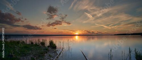 Obraz na plátně Sonnenuntergang am See