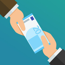 One Hand Gives A 20 Euro Bill To Another Hand (flat Design)