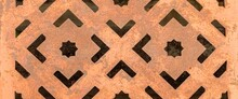 Panorama Of The Steel Manhole Cover Has A Stencil To Rust Texture And Background