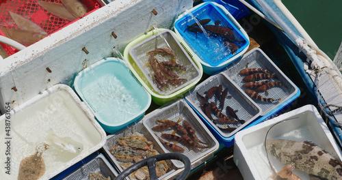 Fotografia Sell seafood on fisherman boat