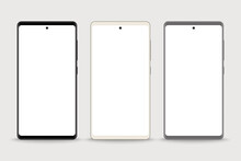 Smartphone Mockup Set With Blank Screen Vector, Mobile Phone For Web, Inforgraphics Or Presentation, Template For Advertising
