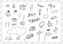 旅行 手描きイラスト素材集