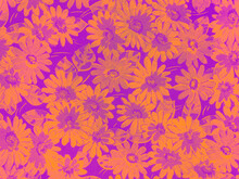 Flower Pattern Seamless On Blue Background . Classic Wallpaper.
