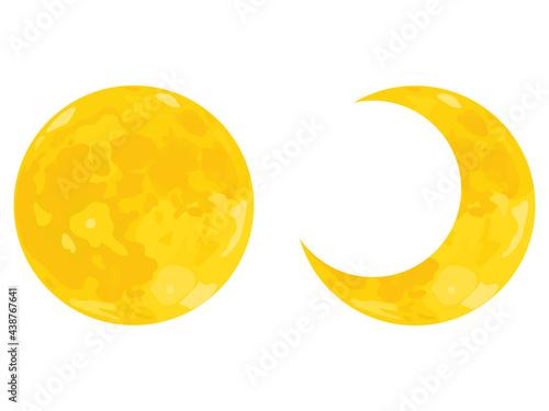 Fotografering 月のイラスト 満月と三日月