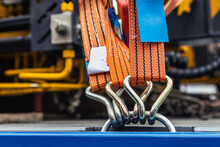 Tension Safety Belts With Mechanical Locks. Stretch Textile Slings Hold