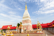 Beautiful White Pagoda At Wat Phrathat Renu Nakhon, Nakhon Phanom