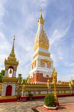 Beautiful White Pagoda At Wat Phra That Phanom Temple, Nakhon Phanom
